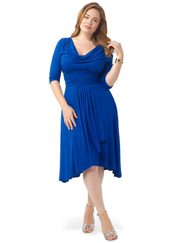 Draped In Class Dress In Royal Blue
