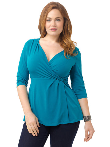 Airica Faux Wrap Top In Teal