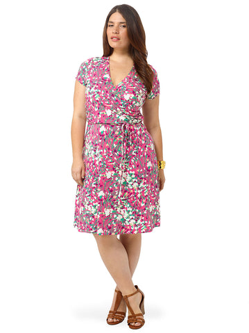Shirred Surplice Dress In Cactus Flower