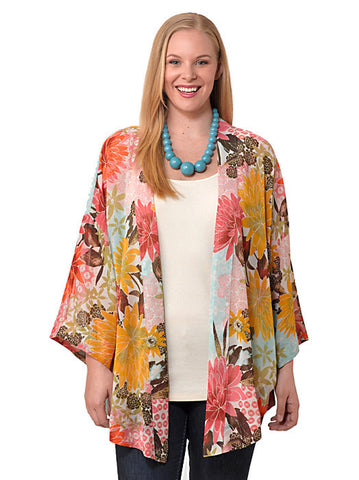Three-Quarter Sleeve Printed Jacket