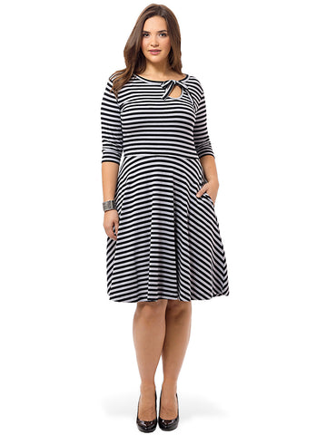 Elysees Dress In Gray & Black Stripe