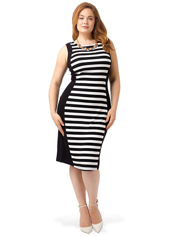 Striped Body Con Silhouette Dress
