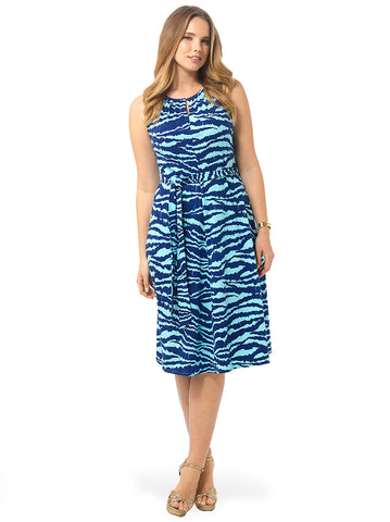 Keyhole Dress In Aqua Shell Zebra Print
