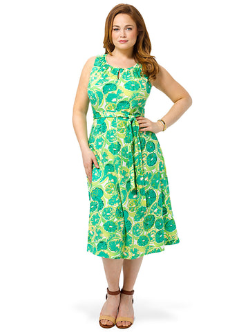 Keyhole Dress In Lime Print