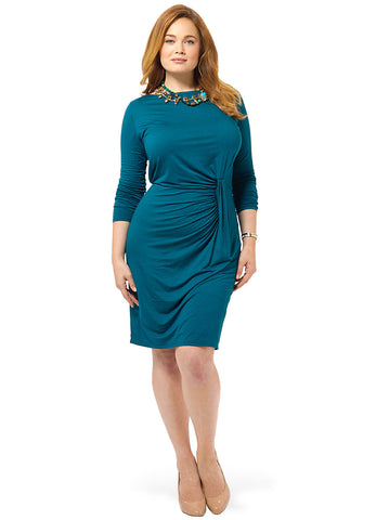 Boatneck Long Sleeve Knot Dress