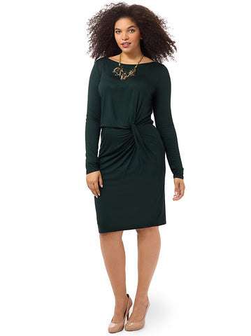 Boatneck Long Sleeve Knot Dress In Green