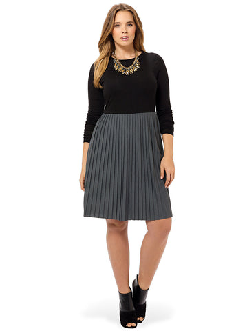 Pleated Jersey Long Sleeve Contrast Dress