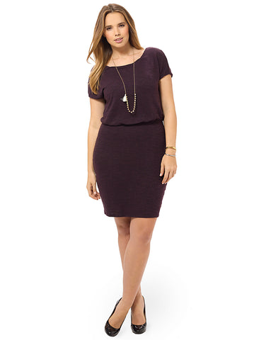 Slub Blouson Dress In Plum Oasis