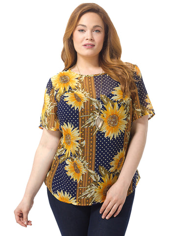 Sunflower Polka Dot Top