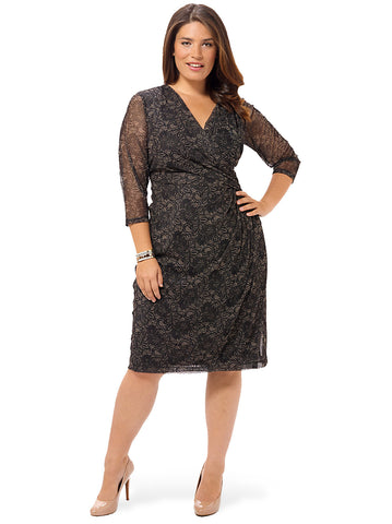 Scroll Lace Faux-Wrap Dress