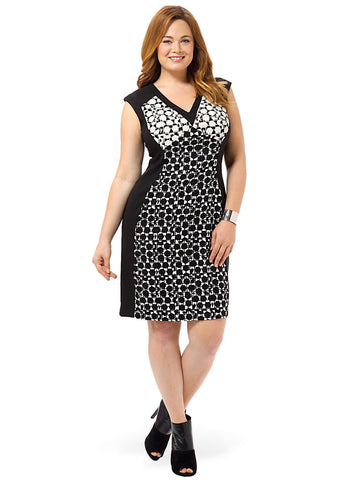 Sheath Dress In Black & White