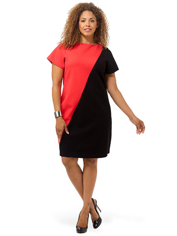 Damaris Sheath Dress In Black & Poppy Red