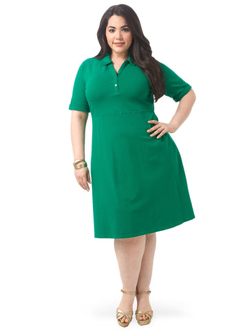 Fit & Flare Polo Dress In Green