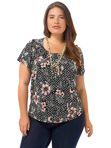 Short-Sleeve Floral Print Pleated Top