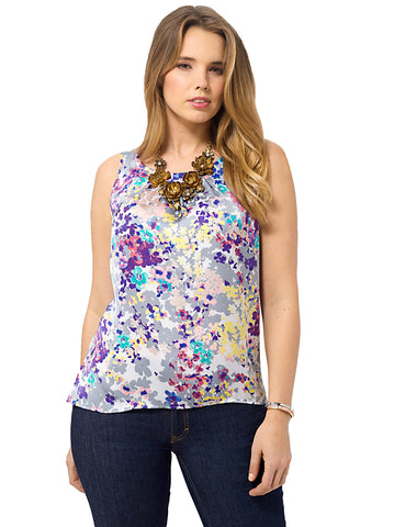 Sateen Floral Shell Top