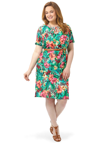 Hawaiian Floral Printed Shift Dress