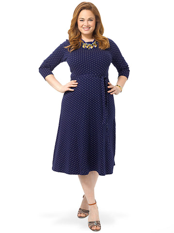 Midnight Indigo Dots 3/4 Sleeve Dress