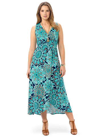 Deep Sea Medallion Maxi Dress