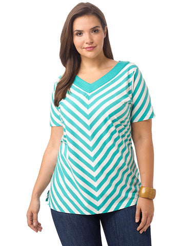 V-Neck Stripe Tunic In Dusty Jade