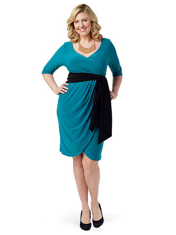 Harlow Faux Wrap Dress Jade