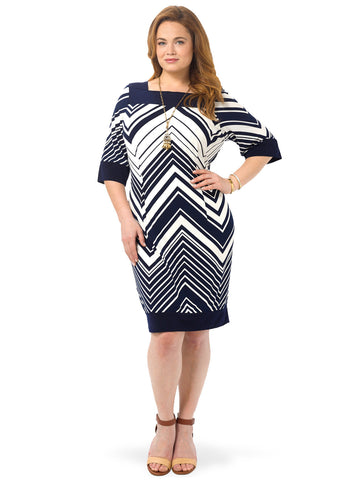 Navy & White Chevron Shift Dress