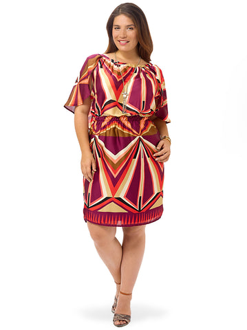 Plum Pinwheel Cape Dress