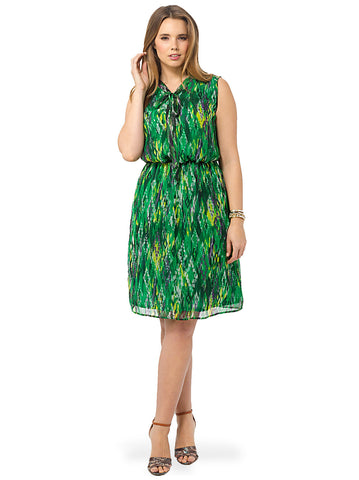 Green Abstract Bow Tie Dress