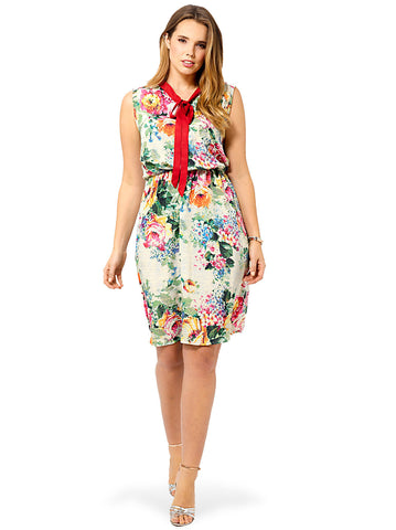 Lovely Floral Bow Tie Dress
