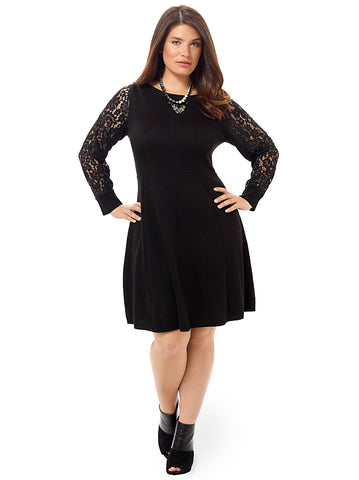 Fit & Flare Dress With Lace Sleeves