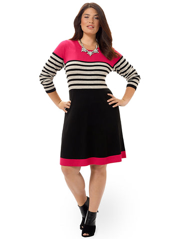 Striped Fit & Flare Dress With Pink Accent