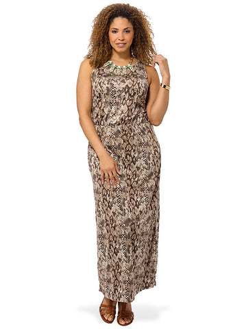 Brown Snake Print Sleeveless Maxi Dress