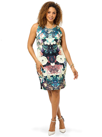 Black And Multi Sleeveless Floral Mirror Print Dress