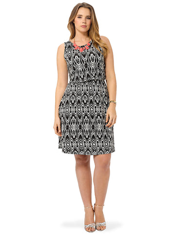 Black And White Print Skater Dress With Cross Detail Back