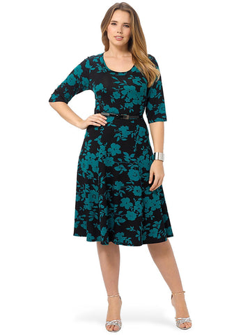 Black And Teal Floral Print Skater Dress With Patent Belt
