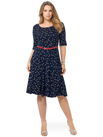 Navy Dragonfly Print Midi Skater Dress With Red Patent Belt