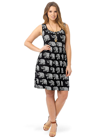 Button Front Dress In Elephant Print
