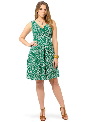 Malachite Print Fit & Flare Dress