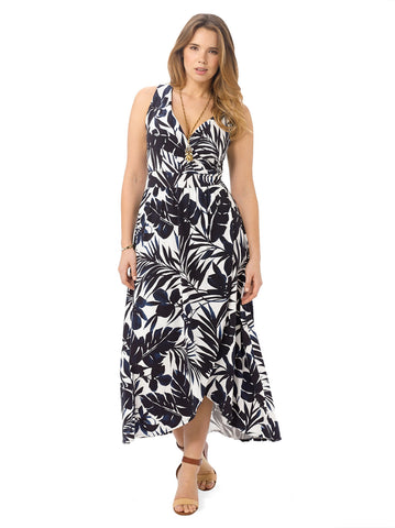 Navy Leaves Maxi Dress