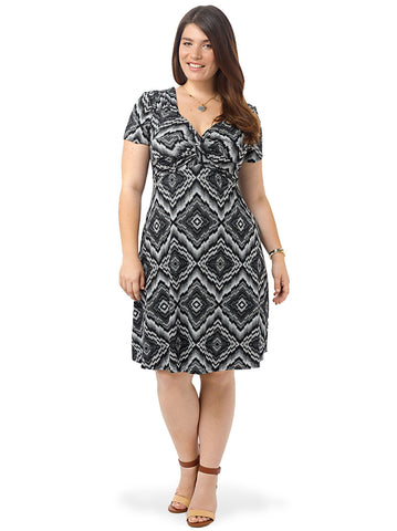 Knot Front Dress In Black & White