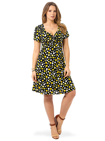 Knot Front Dress In Mixed Yellow Dot
