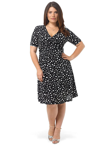Fit and Flare In Mixed Dot Print