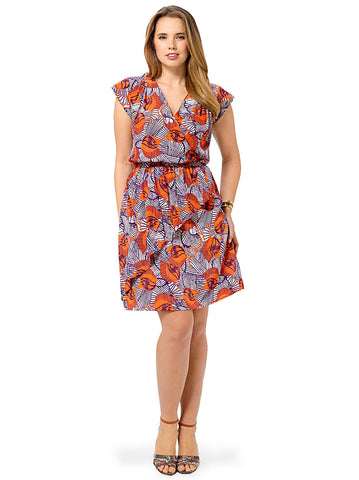 Abstract Printed Cascade Dress
