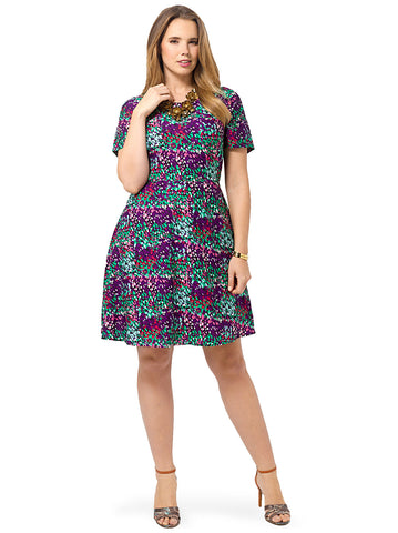 Purple Abstract Fit & Flare Dress