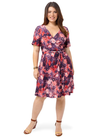 Crimson Floral Printed Wrap Dress
