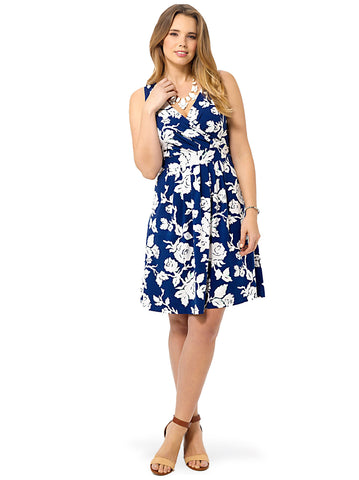 Midnight Blue Floral Fit & Flare Dress