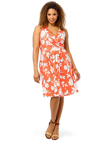 Coral Bliss Floral Fit & Flare Dress