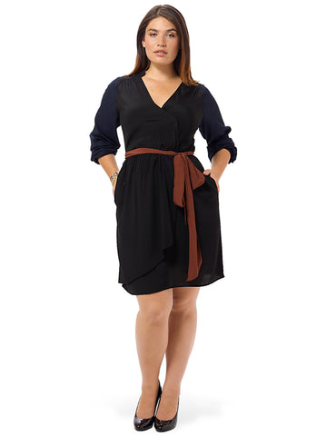 Bella Blocked Wrap Dress