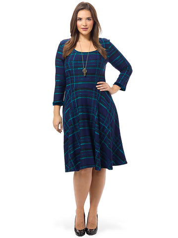 Midnight Plaid Jacquard Dress