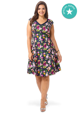 Cap Sleeve Floral Fit & Flare Dress