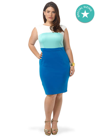 Colorblocked Scuba Sheath Dress